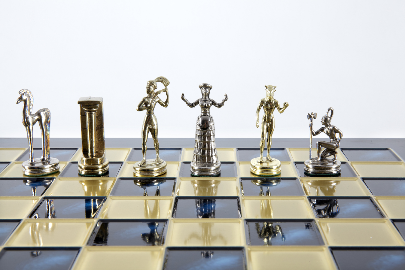 Minoan Warrior chess set gold-silver chessmen/Blue chessboard 36 sm